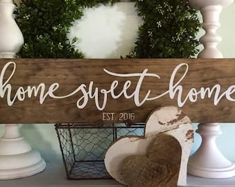 home sweet home, home sweet home sign, wood signs, established wood sign, wooden signs, home sign, new home date, farmhouse