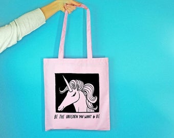 Be The Unicorn Tote Bag - Illustrated Shopper Bag - Unicorn Gift - Gifts for Her - Funny Shopping Bag - Slogan Bag - Rock on Ruby