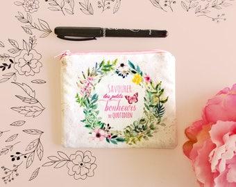 Petit porte-monnaie, petite pochette fleurie, idée cadeau femme, porte-monnaie fait main tissu fleurs, porte-monnaie femme, couronne fleurs