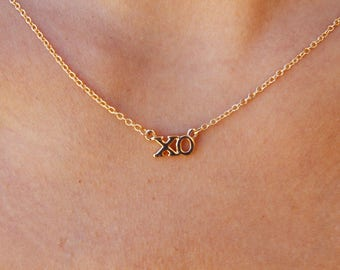 Tiny Gold XO Necklace - Love Necklace/ Romantic Necklace/ Hugs and Kisses/ Sweetheart Necklace/ Best Friend Gift/ Friendship Necklace/ BFF