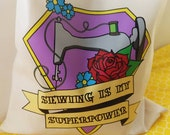 Sewing is my superpower - Heavy cotton Tote bag with tattoo inspired vintage sewing machine design