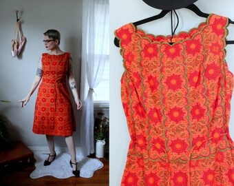 Vintage Orange Blossom Sheath Dress // 1960's Cotton Dress with Green Scallop Bodice /Day Dress with Cinch Waist Made in Thailand Size S-M