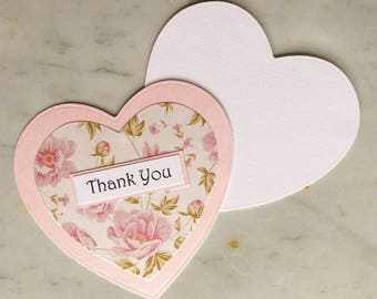 Pale Pink Heart Thank You Card with Floral Patterned Paper