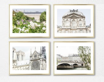 Paris Art Decor, White Decor Art Set of 4 Prints, Gallery Wall Prints, French Photography, 5x7, 8x10, 8x12, 11x14, 11x17, 16x20