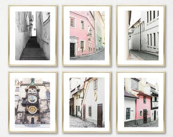 Room Decor Prints Set // Blush Decor Art Set of 6 // Prague Prints // Pink Wall Art // Travel Prints Set // Europe Gallery Wall Set