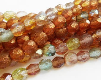 25 - Praire Etch Mix or Topaz Patina 6mm Fire Polish Sea Glass Faceted Round Beads, Multicolor Czech Glass Beads, Copper Etch
