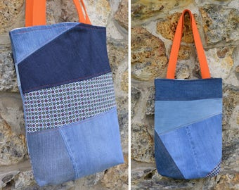 Tote bag purse Jeans denim,quilting linen coton, ethnic African - recycled