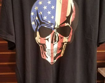 Skull shirt - patriotic shirt - patriotic skull shirt - gift for him - cool mens shirt - cool skull shirt - gift for dad - gift for husband