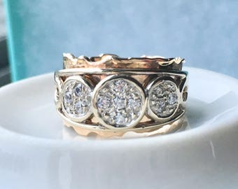 18k fancy two tone diamond ring