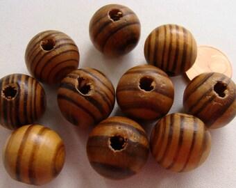 10 perles rondes 16mm BOIS strie marron / noir PB30 DIY création bijoux déco