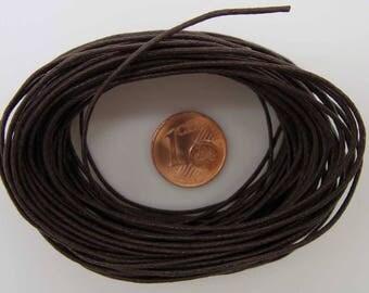FIL Echeveau 9m environ cordon Coton ciré 1mm MARRON FONCE création bijoux loisirs