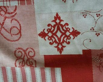Coupons pattern patchwork red and white upholstery fabric