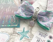 Mint Mermaid Lilac Lace Planner Bow with Pearl Charm