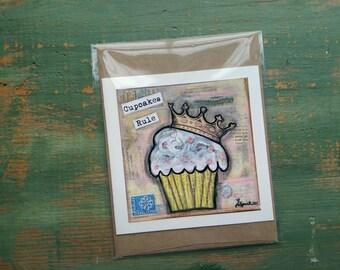 SALE! Cupcake Card, Cupcake Art Card, Cupcake Art, Whimsical Cupcake, Sale Card, Clearance Card, greeting card, note card, Cupcakes Rule