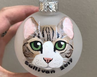 "Custom Cat Ornament (2.75"") - Hand Painted, Made to Order for Christmas"