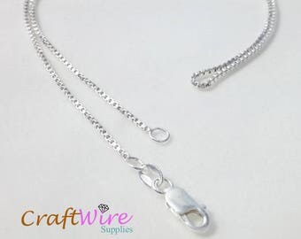 "925 Sterling Silver BOX Chain Necklace Italy 1.2mm 16"", 18"", 20"", 24"", 30"", 36"", new and ready to wear"