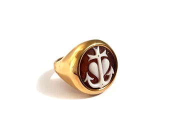 Heart & anchor cameo ring italian shell cameo ring donadio cameos italian shell cameos silver cameo ring gift for women for girls for ladies