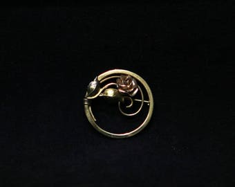 Vintage Goldtone Circle Brooch Rose and Leaf Pin Mid Century Jewelry 1950