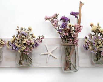 Decorazione per parete in legno e vetro riciclati.Fiori secchi - semprevivva