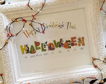 Halloween Illustration Name / Custom Home Decor / Fall Decor / Halloween Decor