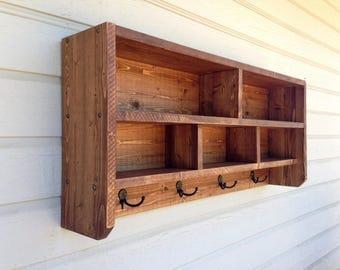 Beautifully Grained, Edge Glued, Lodgepole Pine Coat Rack W/2 Chubby & 3 Cubby Holes. Multipurpose Organizer.