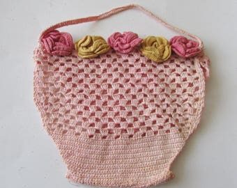 Vintage Crochet Pink Basket with Flowers