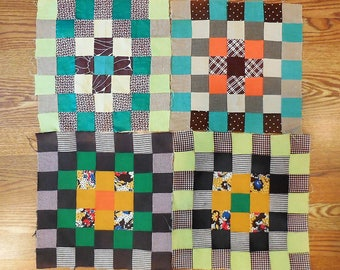 4 Vintage Quilt Blocks. Approximately 12.5 inches x 12.5 inches each.