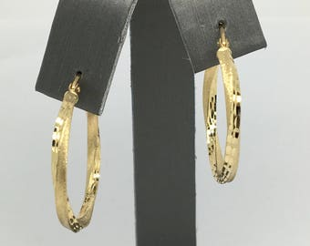 14K Yellow Gold Sanded Texture Hoop Earrings