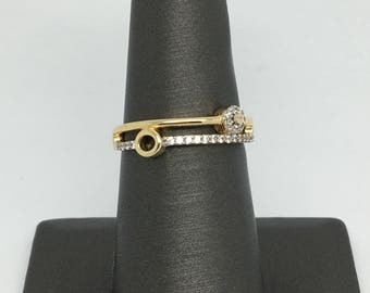14K Yellow Gold CZ Double Stack Band Style Ring