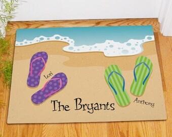 Personalized Flip Flop Doormat Family Beach Welcome Floor Mat
