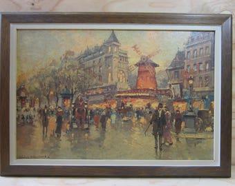 """Vintage Antoine Blanchard's """"Moulin Rogue"""" Offset Lithograph * Paris Street Scene Lithograph Print * Paris Cityscape"""