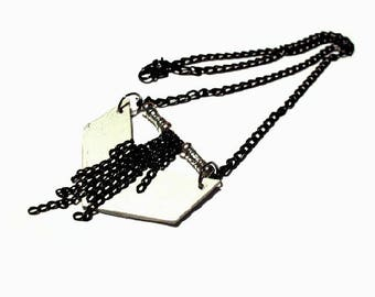 Chevrons, duo of black and silver necklace