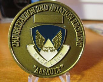 United States Army * 2nd Battalion * 2nd Aviation Regiment * Assault * 2nd Infantry Division * Warriors Korea Challenge Coin #3694