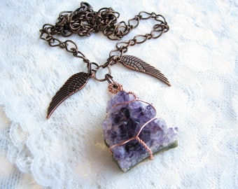 Druzy necklace Amethyst necklace Angel wings necklace Copper necklace Natural amethyst Healing amethyst Healing pendant chakra necklace gift