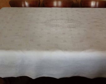 Beautiful JP or JR vintage french tablecloth with hand embroidered monogram, large white rectangular .antique damask linen.