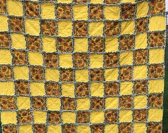 "Sunflower Rag Quilt 59""x 69"" Sunflower Yellow Green Bright Handmade Lap Rag Quilt Throw Rag Quilt"