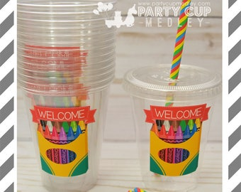 Back to School Party Cups, Lids & Straws or Favor Cups with Dome Lids