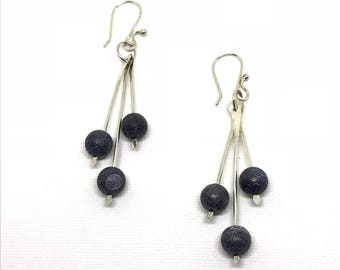 Black Agate sterling waterfall earrings