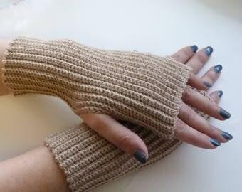 Mittens, knitted mittens, fingerless mittens ,beige  gloves, knitted gloves, handmade mittens, gift