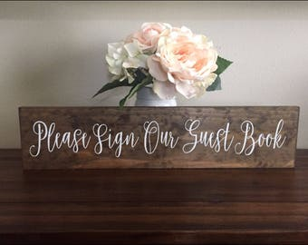 Rustic Wedding Please Sign Our Guest Book Board / Wood Sign Rustic Wedding Decor / Just Married Thank You Sign Country Wedding Photo Prop