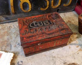 Richmond Club Mixture Tobacco Tin, Vintage Cameron & Cameron Cut Plug Tobacco Tin, Collectible Home Storage Decor, Early 1900s Metal Tin