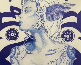 Art Nouveau Blue Monochrome Portait of Woman with Wings and Tattoos Digital Print