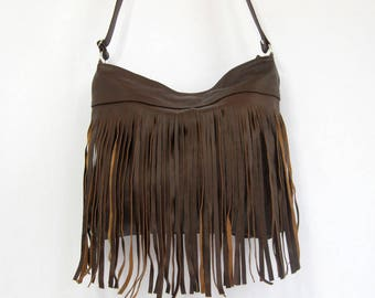 FRINGE LEATHER PURSE Crossbody Leather Bag With Tassels Dark Brown, Brown Leather Hobo