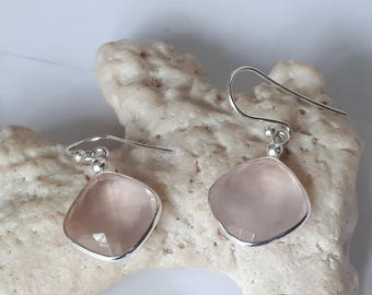 Faceted rose quartz earrings set in 92.5 sterling silver,free shipping