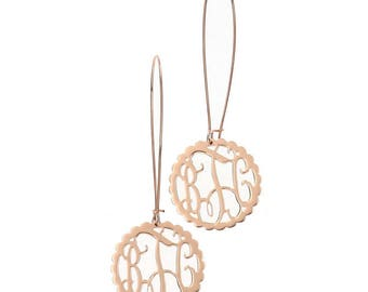 Rose Gold Scallop Monogram Filigree Dangle Earrings