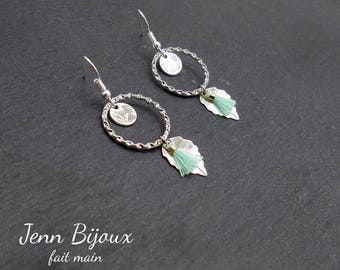 Earrings silver and green rings - charms and PomPoms - Ref: BOA100