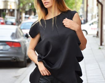 Black Neoprene Tunic, Loose Long Top, Sleeveless Tunic Top, Asymmetric Casual Tunic, Elegant Office Dress by SSDfashion