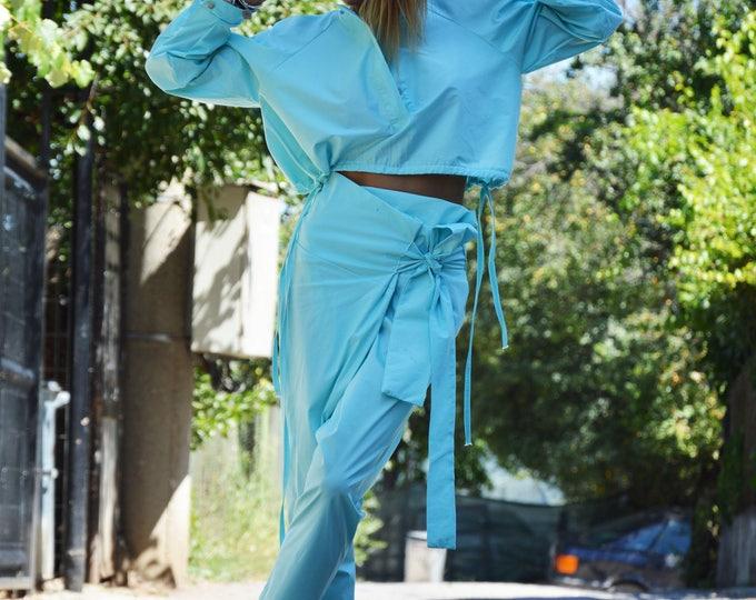 Plus Size Turquoise Set, Extravagant Woman Drop Crotch Pants, Cotton Loose Shirt, Summer Maxi Set by SSDfashion