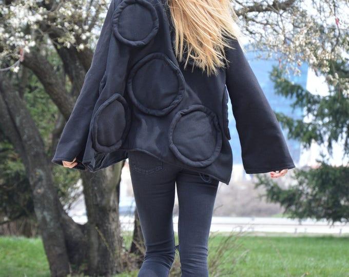 Woman's Black Winter Coat, Long Sleeves Cashmere Coat, Extravagant Warm Casha Coat by SSDfashion