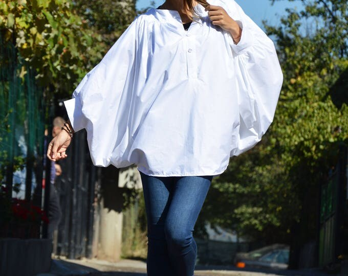 New Plus Size White Shirt, Asymmetric Buttoned Casual Shirt, Short   Extravagant Sleeves, Modern Design by SSDfashion